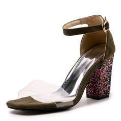 Femmes Suède Talon bottier Sandales Escarpins À bout ouvert avec Paillette Boucle chaussures