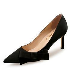 Dla kobiet Satyna Jedwabna Obcas Stiletto Czólenka Zakryte Palce Z Kokarda obuwie