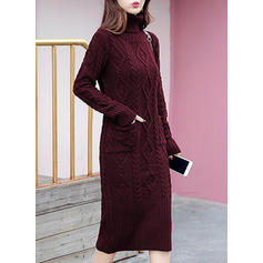 Solid Cable-knit Pocket Turtleneck Sweater Dress