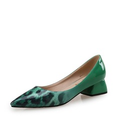 Women's Patent Leather Chunky Heel Closed Toe With Animal Print shoes