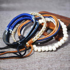 Fashionable Stylish Punk Leather Rope Unisex Fashion Bracelets (4 pieces)