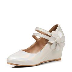 Femmes PU Talon compensé Bout fermé Compensée avec Une fleur chaussures