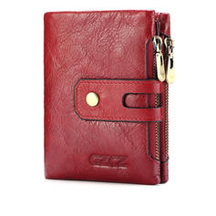 Women Retro Genuine Leather Multi-slots Bifold Small Short Wallets Card Holder Purse