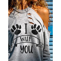 Animal Print Cold Shoulder Long Sleeves Casual Knit Blouses