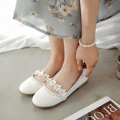 Mulheres Couro Sem salto Sem salto Fechados com Flor sapatos