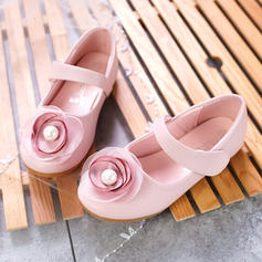 Girl's Microfiber Leather Flat Heel Closed Toe Flats Flower Girl Shoes With Imitation Pearl Velcro Flower