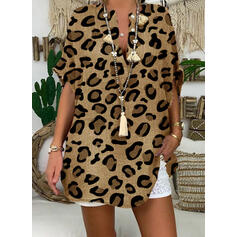 леопард V-λαιμός 1/2 Μανίκια Χωρίς Κουμπιά Κολάρου Καθημερινό Блузи