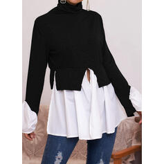Color Block High Neck Long Sleeves Ruffle Sleeve Casual Blouses