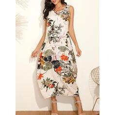 Print/Floral Sleeveless Shift Tank Casual/Vacation Maxi Dresses