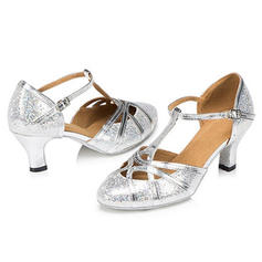 Women's Ballroom Sandals Pumps Sparkling Glitter With T-Strap Buckle Hollow-out Latin