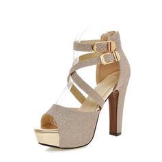 De mujer Brillo Chispeante Tacón stilettos Sandalias Plataforma Encaje zapatos