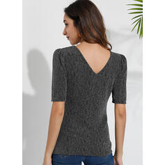Solid V-Neck Puff Sleeves Short Sleeves Casual Knit Blouses