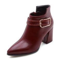 Femmes Similicuir Talon bottier Bout fermé Bottes Bottines avec Boucle Zip chaussures
