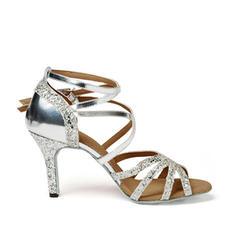 Women's Latin Heels Sandals Leatherette Sparkling Glitter Latin