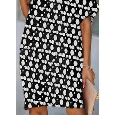 Nadrukowana Krótkie rękawy Koktajlowa Długośc do kolan Casual Tunika Sukienki