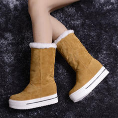 Women's PU Flat Heel Mid-Calf Boots Snow Boots With Faux-Fur shoes