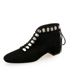 Femmes Suède Talon bottier Bout fermé Bottines Martin bottes avec Rivet Dentelle chaussures