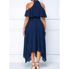 Koronka/Jednolita Odkryte ramię W kształcie litery A Asymetryczna Mała czarna/Przyjęcie Sukienki