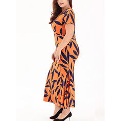 Print Short Sleeves Sheath Casual/Plus Size Midi Dresses