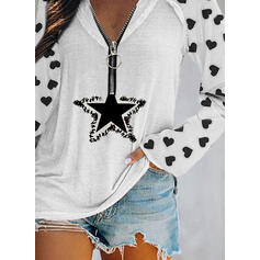 Print Sequins Heart V-Neck Long Sleeves Casual Blouses