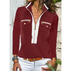 Blocchi di colore Risvolto Maniche lunghe Casuale Camicie