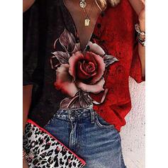 Print Color Block Floral Cold Shoulder 3/4 Sleeves Cold Shoulder Sleeve Casual Blouses