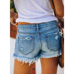 Les poches Froncé Déchiré Mini Décontractée Sexy Short
