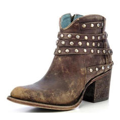 Kvinner PU Stor Hæl Mid Leggen Støvler med Rivet Glidelås sko