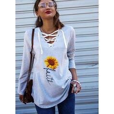 Sunflower Print Figur V-hals Lange ærmer Sweatshirts