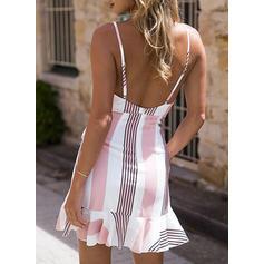 Striped Sleeveless Sheath Above Knee Sexy/Casual/Vacation Dresses