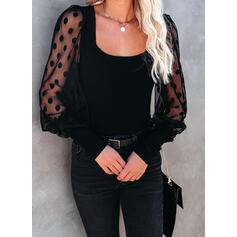 Solid Lace Square Collar Long Sleeves Elegant Blouses