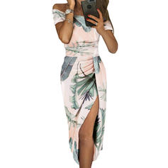 Print Short Sleeves Sheath Midi Casual Dresses