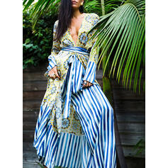 Print/Striped Long Sleeves A-line Casual/Boho/Vacation Maxi Dresses
