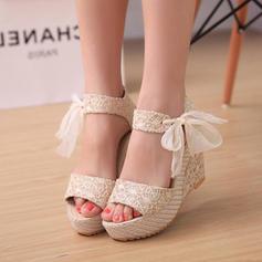 De mujer PU Tipo de tacón Sandalias Cuñas con Bowknot zapatos