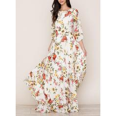 Print/Floral 3/4 Sleeves A-line Maxi Casual/Elegant Dresses