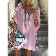 Solid Short Sleeves Shift Above Knee Casual/Boho/Vacation Tunic Dresses