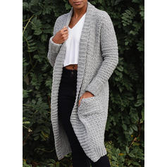 Solid Grid Chunky knit Pocket Cardigan