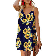 Sunflower Print Sleeveless Shift Above Knee Casual/Vacation Slip Dresses