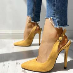 Women's Suede Stiletto Heel Sandals Pumps Slingbacks With Buckle shoes