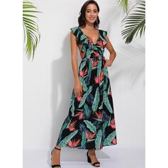 Print Sleeveless A-line Sexy/Party Maxi Dresses