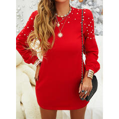 Solid/Beaded Long Sleeves Shift Above Knee Little Black/Casual Tunic Dresses