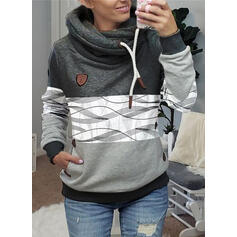 Print Color Block Pockets Long Sleeves Hoodie