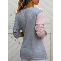Color Block V-neck Long Sleeves Casual Knit Blouses