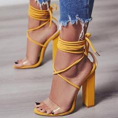 Donna PU Tacco a spillo Sandalo Stiletto con Allacciato scarpe