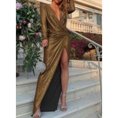 Solid Long Sleeves Sheath Maxi Party Dresses