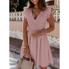 Solid Lace Short Sleeves Small Flying Sleeve A-line Above Knee Little Black/Casual Skater Dresses
