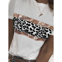 Leopard Sequins Round Neck Short Sleeves T-shirts