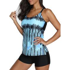 Print Gradient Halter U-Neck Elegant Boho Tankinis Swimsuits