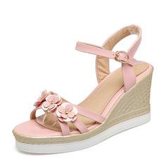 Frauen PVC Keil Absatz Sandalen Keile Peep Toe Slingpumps mit Schnalle Blume Schuhe