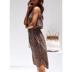 Leopard Sleeveless Sheath Knee Length Casual/Vacation Dresses